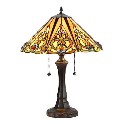 Tiffany Style Victorian Vintage Design 2-light Stained Glass Table Lamp
