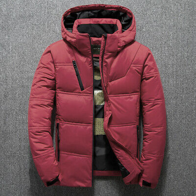 Winter Mens Quilted Duck Down Coat Padded Bubble Puffer Hooded Jacket Parka L7