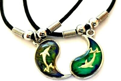 BEST FRIEND Mood Dolphin Yin Yang  2 Pendants Necklace Color BFF Friendship Ying