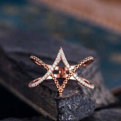 Wedding Jewelry Engagement Rose Gold Plated Cross Ring Round Cubic Zirconia