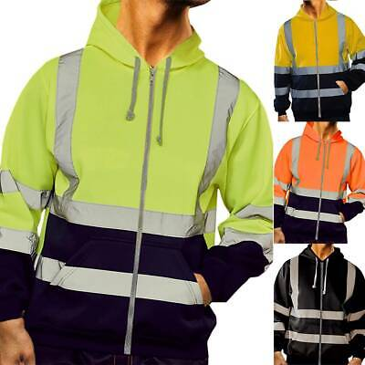 Hi-Vis Insulated Safety Bomber Reflective Jacket Coat Road Work Fleece Lining