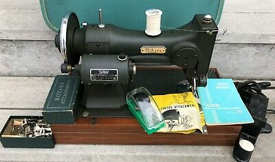 WHITE ROTARY SERIES 77 SEWING MACHINE w PORTABLE CASE + ATTACHMENTS CLEAN WORKS