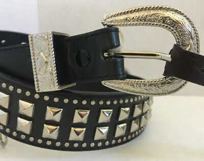 New Vintage Nocona Black Studded Leather Belt Size 28 Cowgirl Horse USA Made NOS