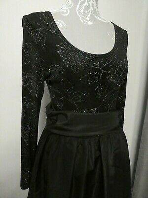 Ladies Black & Silver Vintage Katerina Ball Gown/Full Length Dress Size 12