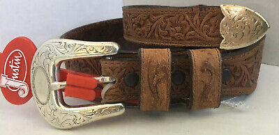 New Vintage Justin Tooled Floral Leather Belt Size 26 Cowgirl Horse Rodeo READ