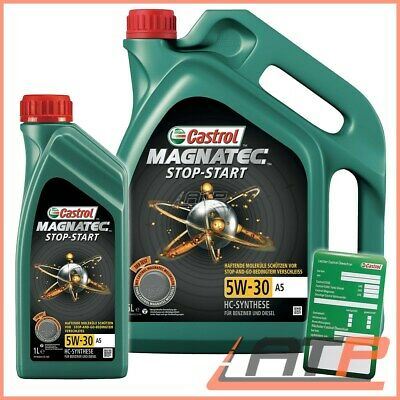 1L + 5L = 6L Castrol Magnatec Stop-Start 5W-30 A5 Engine Oil +Label Acea A1/B1