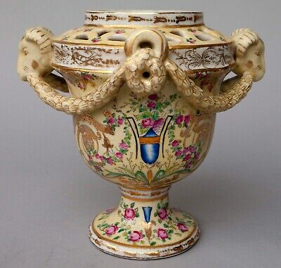Antique Porcelain Urn Vase With Hand Painted Design and Gold Flake Trim