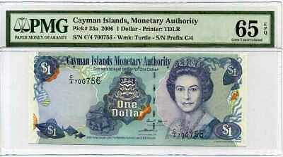 Cayman Islands 1 Dollar 2006 P 33 Gem Unc Pmg 65 Epq