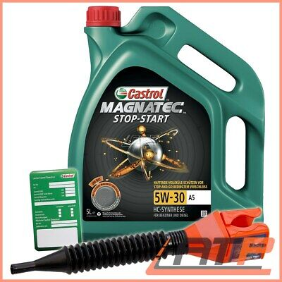 5 L Castrol Magnatec Stop-Start 5W-30 A5 Engine Oil +Label +Funnel Wss-M2C913-D