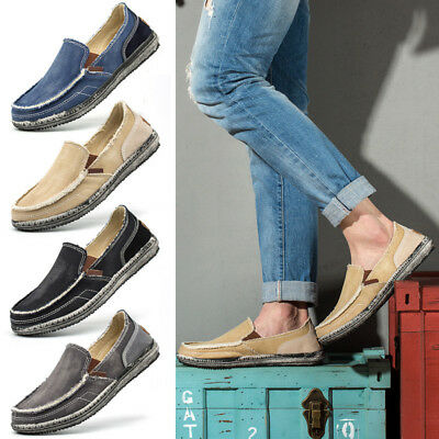 Casual Men's Canvas Shoes Loafers Breathable Flats Driving Boat Slip On Comfy