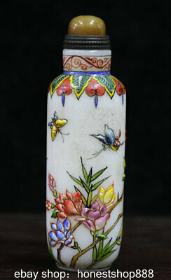9cm Old Marked Chinese Colored Glaze Painted Flower Bird butterfly Snuff Bottle