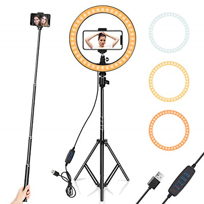 """Ring Light 10"""" with Tripod Stand & Phone Holder for YouTube Video, Desktop Led"""