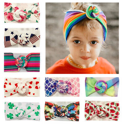 Soft Infant Girl Hair Band Knotted Turban Newborn Baby Headband Bohemia Printed