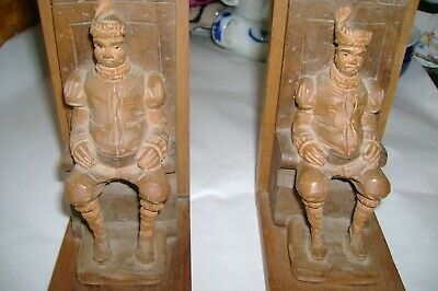 Hand Carved Wooden Bookends Of King on Throne Black Forest