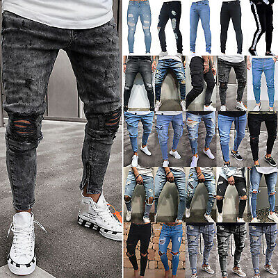Mens Denim Jeans Pants Ripped Skinny Destroyed Frayed Distressed Trousers Casual