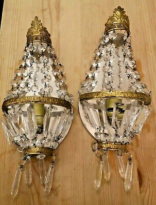 Pair of French Crystal basket Prisms Bronze Sconces Empire Style n°2