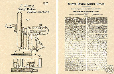 1st US PATENT for SEWING MACHINE Art Print READY TO FRAME 1849 Elias Howe