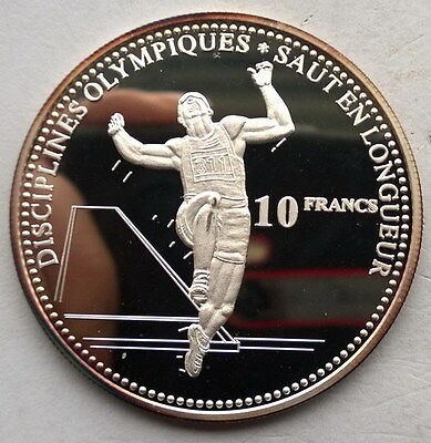 Congo 2000 Long Jumper 10 Francs Silver Coin,Proof