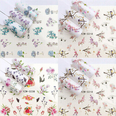 Flower 3D Decoration Art Tips Stickers Manicure Decals 1 Sheets Nail Transfer