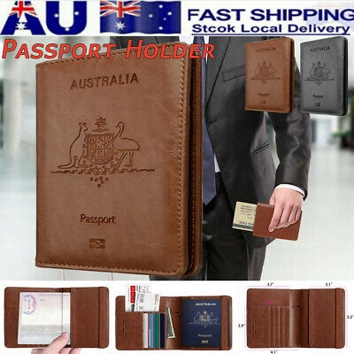 AU Slim Leather Travel Passport Wallet Holder RFID Blocking ID Card Case Cover