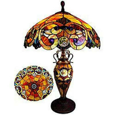 Victorian Stained Glass Table Lamp Tiffany Style 18in - Double Lit