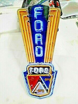 """Ford sign 24"""" x 11 Neon style sign in Steel metal Jubilee Mustang Truck Garage +"""