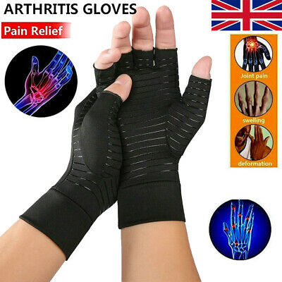 Copper Compression Gloves Fit Arthritis Carpal Tunnel Hand Support Pain Relief A