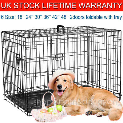 Dog Cage Puppy Pet Crate Carrier Small Medium Large S M L XL XXL Metal With Tray