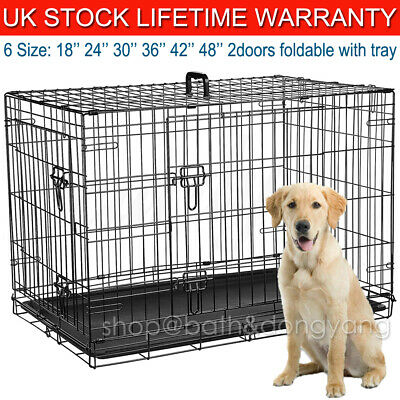 Metal Pet Cage Carrier Dog Puppy Folding Training Crate Travel 2Doors With Tray