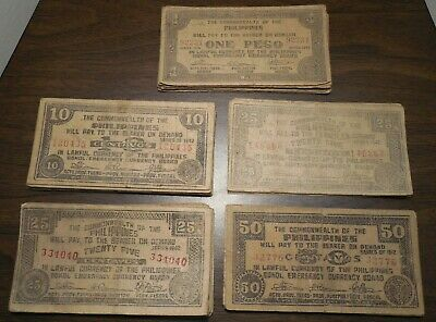 Lot of 77 - Commonwealth Of The Philippines - 1942 - 1 Peso & 10+25+50 Centavos