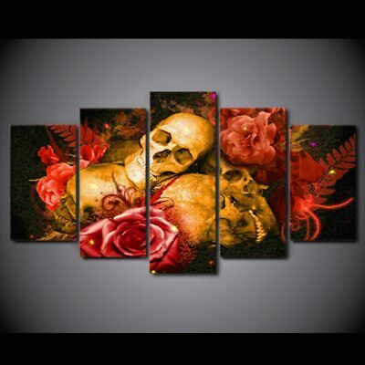 Abstract Skull Painting Red Rose Poster Canvas Art Wall Home Decor Canvas Print