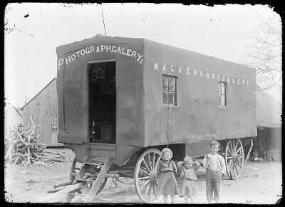 "LATE 1800s EARLY 1900s GLASS NEGATIVE ""WALKER'S PHOTOGRAPH GALLERY"" MOBILE WAGON"