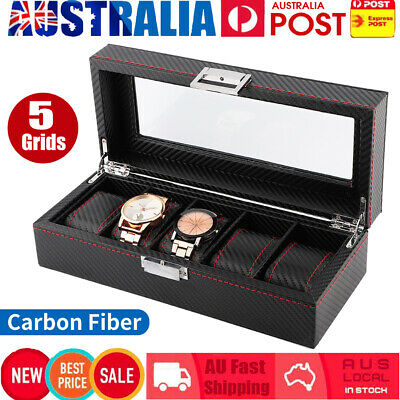 5 Grids Watch Display Case Carbon Fiber Jewelry Storage Box Collection Organizer