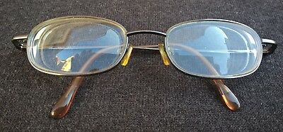 BRILLE BRILLENGESTELL DAMEN 49/40 VOLLRAND METALL in GOLD mit BÜGEL BRAUN : TOP