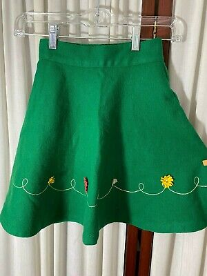 1950's Girl's Circle Skirt by Parker-Wilder- S- Green Wool - ADORABLE- SALE