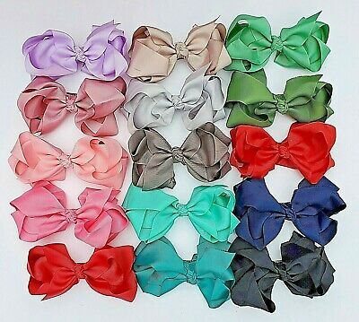 7 inch Double layered boutique kids or teen big hair bows french clip Brand New