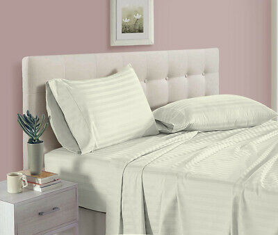 Home Bed Collection Striped Deep Pocket Fitted Sheet 1000 TC Egyptian Cotton