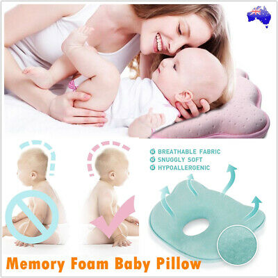 Newborn Infant Baby Prevent Flat Head Memory Foam Pillow Anti Roll Support