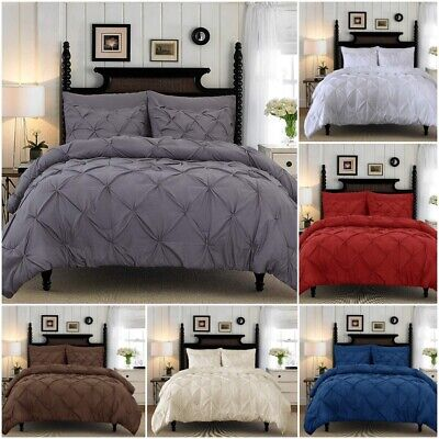Pintuck Duvet Cover 100% Cotton Quilt Bedding Set Diamond Pinch Pleat All Sizes