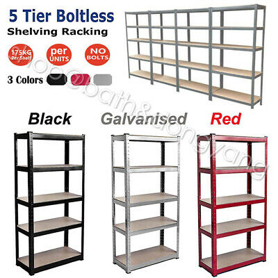 5 Tier Metal Heavy Duty Boltless Rack Racking Warehouse Garage Shelving Unit ❤