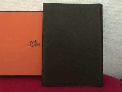 HERMES ACCESSORY Notebook cover brown Leather FRANCE USED
