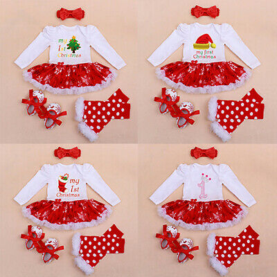 AM_ 4Pcs Kids Baby Girl My First Christmas Lovely Red Skirt Dress Outfits Xmas S