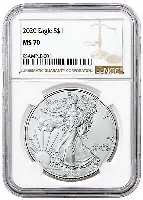 2020 1 oz American Silver Eagle $1 Coin NGC MS70 Brown Label SKU59454