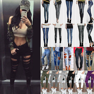 Skinny Womens Ripped High Waist Denim Pant Jeans Trousers Leggings Stretch Pants