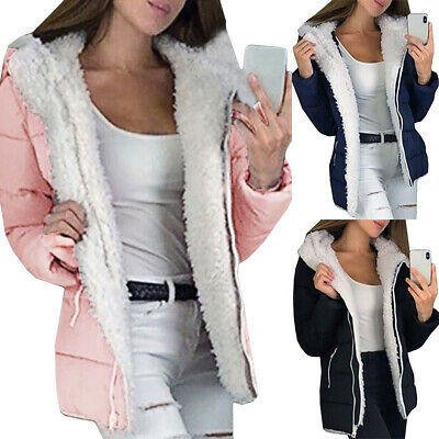 Winter Womens Coats Hooded Fleece Jackets Ladies Overcoat Outwear Tops Plus Size