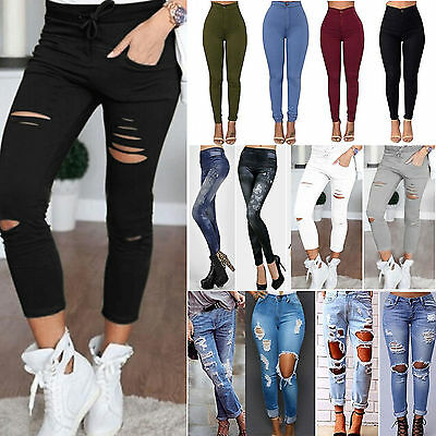 Women's High Rise Ripped Stretch Jeans Trouser Denim Long Skinny Pants Trousers