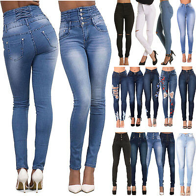 Women Ripped Jeans High Waist Rise Skinny Denim Button Trousers Pants Distressed