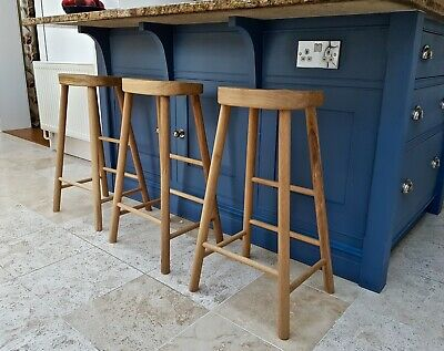 Solid Oak Kitchen Island Stool / Wooden Mid-height Bar Seat / Breakfast Stool