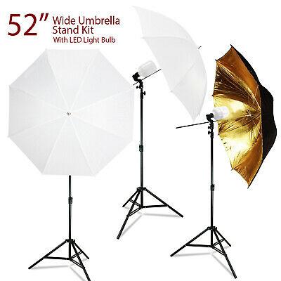 "White, Black and Gold Studio Umbrella 52"" LED Continuous Lighting Stand Kits"