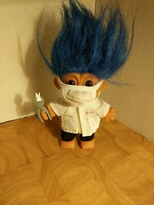 Russ RARE BLUE HAIR DENTIST TROLL DOLL with TOOTH AND PLIERS